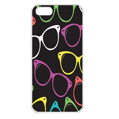 Glasses Color Pink Mpurple Green Yellow Blue Rainbow Black Apple iPhone 5 Seamless Case (White)