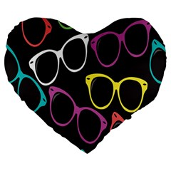 Glasses Color Pink Mpurple Green Yellow Blue Rainbow Black Large 19  Premium Heart Shape Cushions