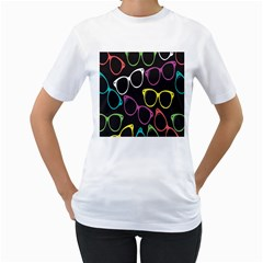 Glasses Color Pink Mpurple Green Yellow Blue Rainbow Black Women s T Shirt (white)