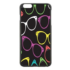 Glasses Color Pink Mpurple Green Yellow Blue Rainbow Black Apple iPhone 6 Plus/6S Plus Black Enamel Case