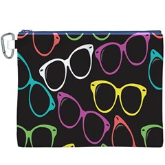 Glasses Color Pink Mpurple Green Yellow Blue Rainbow Black Canvas Cosmetic Bag (XXXL)