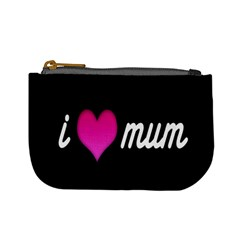 I Love Moom Mum Pink Valentine Heart Mini Coin Purses