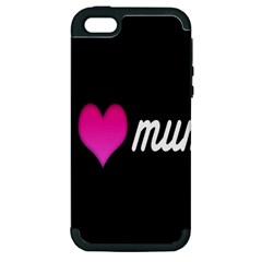 I Love Moom Mum Pink Valentine Heart Apple iPhone 5 Hardshell Case (PC+Silicone)