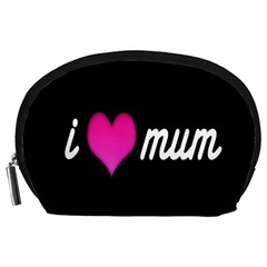 I Love Moom Mum Pink Valentine Heart Accessory Pouches (Large)