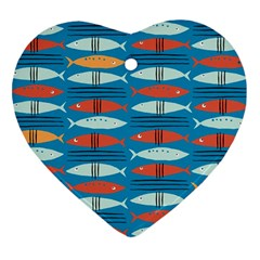 Go Fish  Fishing Animals Sea Water Beach Red Blue Orange Grey Heart Ornament (Two Sides)