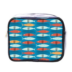 Go Fish  Fishing Animals Sea Water Beach Red Blue Orange Grey Mini Toiletries Bags