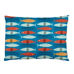 Go Fish  Fishing Animals Sea Water Beach Red Blue Orange Grey Pillow Case (Two Sides)
