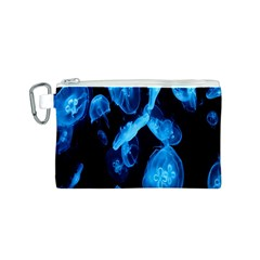 Jellyfish Sea Beack Water Blue Canvas Cosmetic Bag (S)