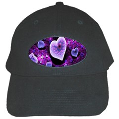 Hearts On Snake Pattern Purple Pink Love Black Cap