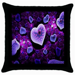 Hearts On Snake Pattern Purple Pink Love Throw Pillow Case (black)