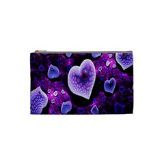 Hearts On Snake Pattern Purple Pink Love Cosmetic Bag (Small)