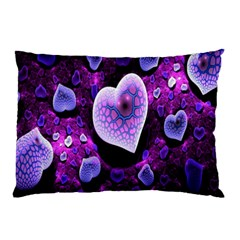 Hearts On Snake Pattern Purple Pink Love Pillow Case (Two Sides)