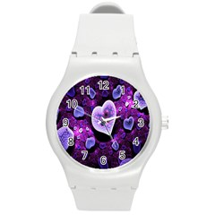 Hearts On Snake Pattern Purple Pink Love Round Plastic Sport Watch (M)