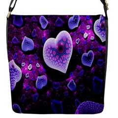 Hearts On Snake Pattern Purple Pink Love Flap Messenger Bag (S)