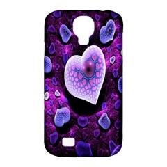 Hearts On Snake Pattern Purple Pink Love Samsung Galaxy S4 Classic Hardshell Case (PC+Silicone)