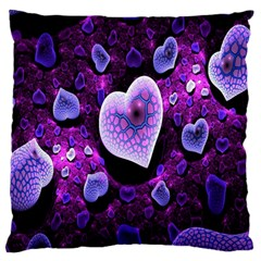 Hearts On Snake Pattern Purple Pink Love Large Flano Cushion Case (One Side)