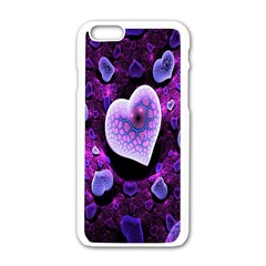 Hearts On Snake Pattern Purple Pink Love Apple iPhone 6/6S White Enamel Case