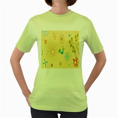 Kids Bird Sun Flower Floral Leaf Animals Color Rainbow Women s Green T Shirt