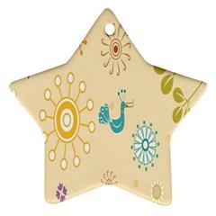 Kids Bird Sun Flower Floral Leaf Animals Color Rainbow Star Ornament (Two Sides)