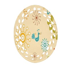Kids Bird Sun Flower Floral Leaf Animals Color Rainbow Oval Filigree Ornament (Two Sides)