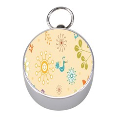 Kids Bird Sun Flower Floral Leaf Animals Color Rainbow Mini Silver Compasses