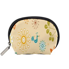 Kids Bird Sun Flower Floral Leaf Animals Color Rainbow Accessory Pouches (Small)