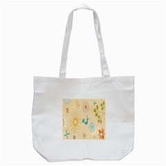 Kids Bird Sun Flower Floral Leaf Animals Color Rainbow Tote Bag (White)