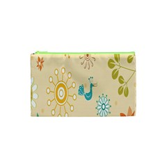 Kids Bird Sun Flower Floral Leaf Animals Color Rainbow Cosmetic Bag (XS)