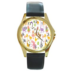 Kids Animal Giraffe Elephant Cows Horse Pigs Chicken Snake Cat Rabbits Duck Flower Floral Rainbow Round Gold Metal Watch
