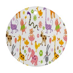 Kids Animal Giraffe Elephant Cows Horse Pigs Chicken Snake Cat Rabbits Duck Flower Floral Rainbow Round Ornament (Two Sides)