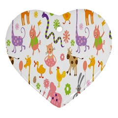 Kids Animal Giraffe Elephant Cows Horse Pigs Chicken Snake Cat Rabbits Duck Flower Floral Rainbow Heart Ornament (Two Sides)