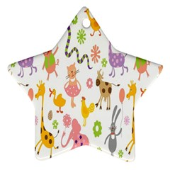 Kids Animal Giraffe Elephant Cows Horse Pigs Chicken Snake Cat Rabbits Duck Flower Floral Rainbow Star Ornament (Two Sides)