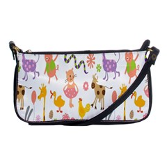 Kids Animal Giraffe Elephant Cows Horse Pigs Chicken Snake Cat Rabbits Duck Flower Floral Rainbow Shoulder Clutch Bags