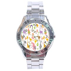 Kids Animal Giraffe Elephant Cows Horse Pigs Chicken Snake Cat Rabbits Duck Flower Floral Rainbow Stainless Steel Analogue Watch