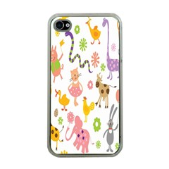 Kids Animal Giraffe Elephant Cows Horse Pigs Chicken Snake Cat Rabbits Duck Flower Floral Rainbow Apple iPhone 4 Case (Clear)