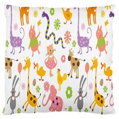 Kids Animal Giraffe Elephant Cows Horse Pigs Chicken Snake Cat Rabbits Duck Flower Floral Rainbow Large Cushion Case (One Side)