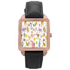Kids Animal Giraffe Elephant Cows Horse Pigs Chicken Snake Cat Rabbits Duck Flower Floral Rainbow Rose Gold Leather Watch