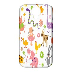 Kids Animal Giraffe Elephant Cows Horse Pigs Chicken Snake Cat Rabbits Duck Flower Floral Rainbow Samsung Galaxy S4 Classic Hardshell Case (PC+Silicone)
