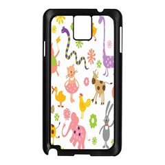 Kids Animal Giraffe Elephant Cows Horse Pigs Chicken Snake Cat Rabbits Duck Flower Floral Rainbow Samsung Galaxy Note 3 N9005 Case (Black)