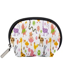 Kids Animal Giraffe Elephant Cows Horse Pigs Chicken Snake Cat Rabbits Duck Flower Floral Rainbow Accessory Pouches (Small)
