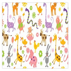 Kids Animal Giraffe Elephant Cows Horse Pigs Chicken Snake Cat Rabbits Duck Flower Floral Rainbow Large Satin Scarf (Square)