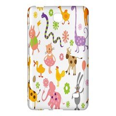 Kids Animal Giraffe Elephant Cows Horse Pigs Chicken Snake Cat Rabbits Duck Flower Floral Rainbow Samsung Galaxy Tab 4 (8 ) Hardshell Case