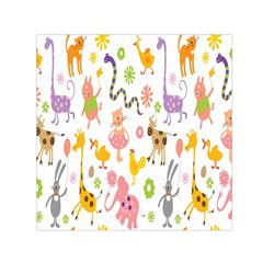 Kids Animal Giraffe Elephant Cows Horse Pigs Chicken Snake Cat Rabbits Duck Flower Floral Rainbow Small Satin Scarf (Square)
