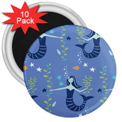 Little Mermaid Star Fish Sea Water 3  Magnets (10 pack)