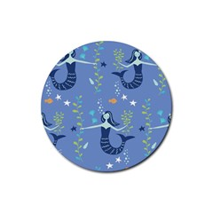 Little Mermaid Star Fish Sea Water Rubber Round Coaster (4 pack)