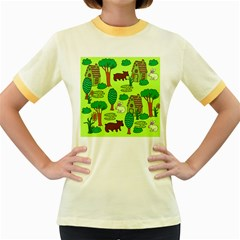 Kids House Rabbit Cow Tree Flower Green Women s Fitted Ringer T Shirts