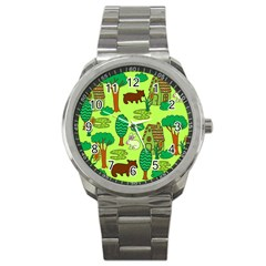 Kids House Rabbit Cow Tree Flower Green Sport Metal Watch