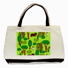 Kids House Rabbit Cow Tree Flower Green Basic Tote Bag (Two Sides)