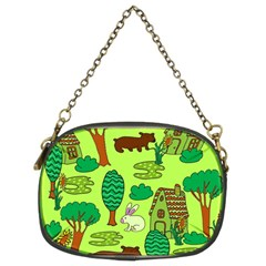 Kids House Rabbit Cow Tree Flower Green Chain Purses (Two Sides)