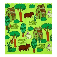 Kids House Rabbit Cow Tree Flower Green Shower Curtain 66  x 72  (Large)